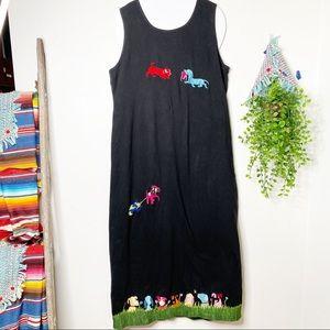 Michael Simon Lite Slvelss Maxi embroid Dress XL